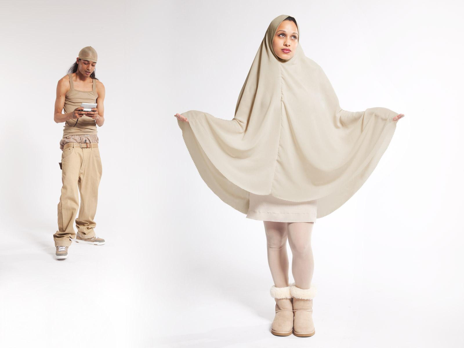 Khaki: Venus wears Fogal Dress, Daryl K leggings, and Uggs.