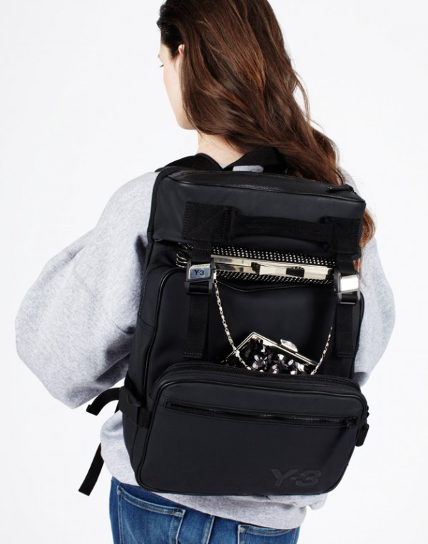 Sweatshirt by Slow and Steady Wins the Race, backpack by Y-3 and clutches by Jessica Simpson.