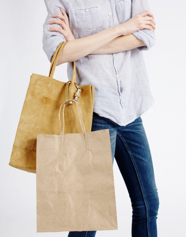 Standard bag by Slow and Steady Wins the Race worn with brown paper bag.