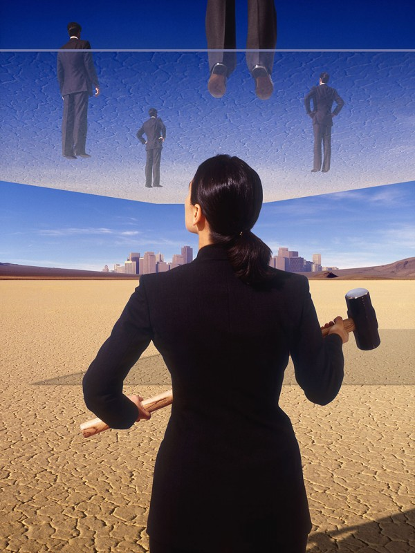 """Businesswoman with sledgehammer below businessmen on platform,"" by Charly Franklin"
