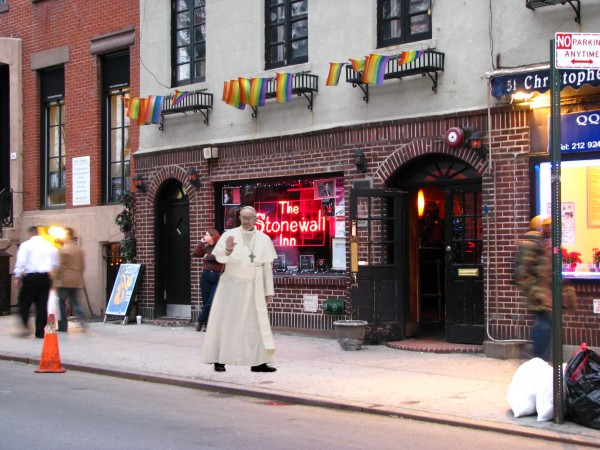 On a trip to New York, Pope Francis is spotted paying his respects to LGBT history at the Stonewall Inn