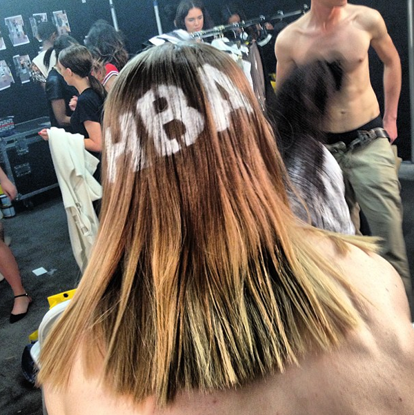 Branded hair at the HBA Selfridges show.