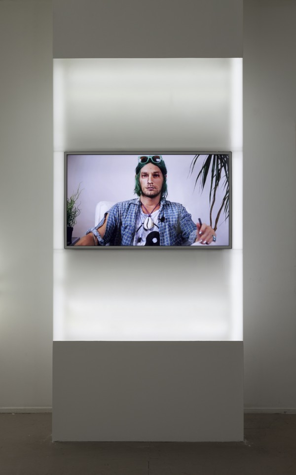 Forever 27, 2013, sculpture with video: plexiglass, LED lights, MDF, plywood, HD television, media player, SD card, 16 min HD video
