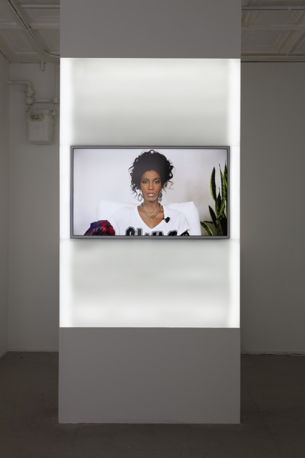 Forever 48, 2013, sculpture with video: plexiglass, LED lights, MDF, plywood, HD television, media player, SD card, 16 min HD video