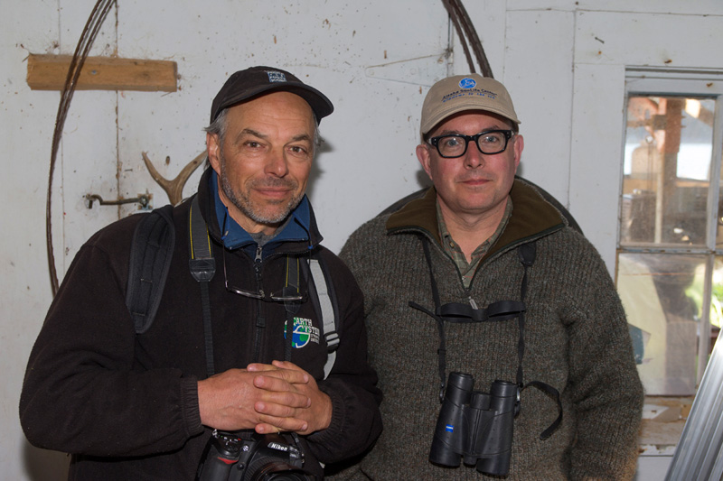 Scientist Carl Safina and Mark Dion on the expedition. Photo by Kip Evans, the Anchorage Museum and Alaskan Sea Life Center.
