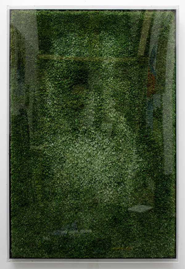 Yves Scherer, Fructis Hardcore, 2012. Fake Grass, Hairgel, Wax, Wood, Perspex
