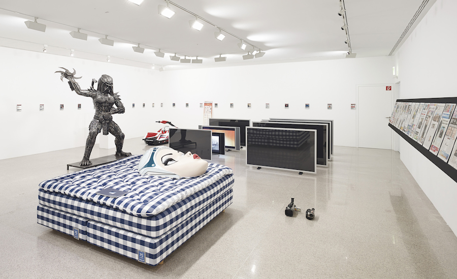 Installation View Simon Denny: The Personal Effects of Kim Dotcom, Museum moderner Kunst Stiftung Ludwig Wien, Vienna 2013. Photo: Gregor Titze