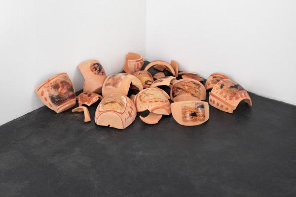 Pathfinder, 2014 terracotta pots, digital print on decal, ochre
