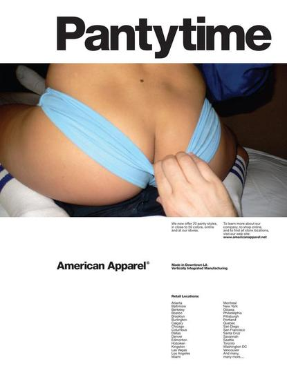 "January 2006 American Apparel ad for panties placed in ""Vice."""