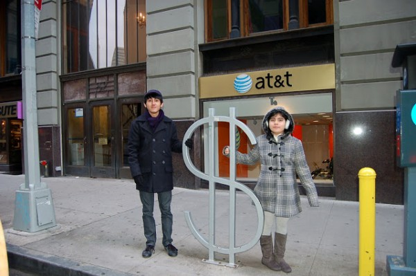 """Artist David Byrne created this very unusual sculpture which is a bicycle rack titled The Wall Street which stands in the north side of Wall Street. The sculpture is one of nine bike racks designed by the artist. It is part of a project set up by the New York City Department of Transportation and the former PaceWildenstein Gallery now Pace Gallery."""