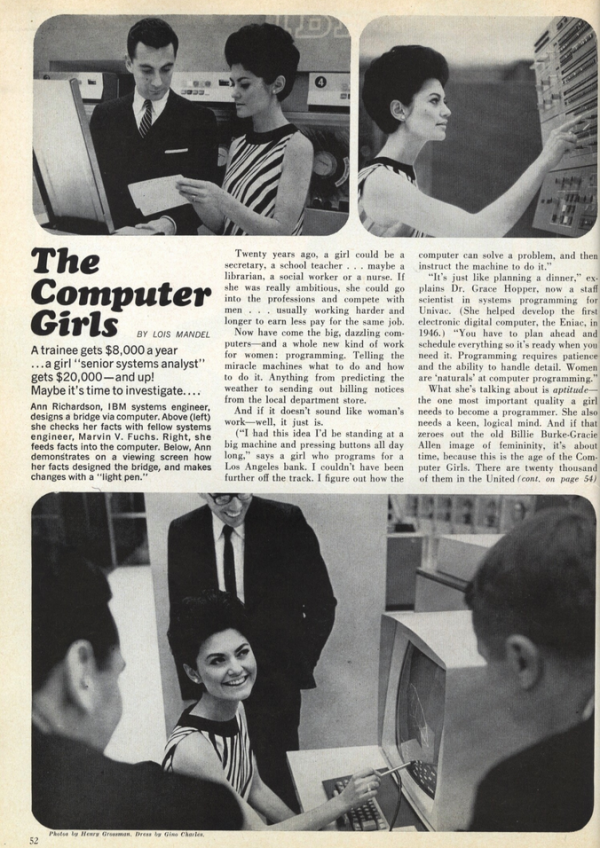 In 1967, programming was seen as a feminine profession: 'It's just like planning a dinner!' Image courtesy of Cosmopolitan Magazine.