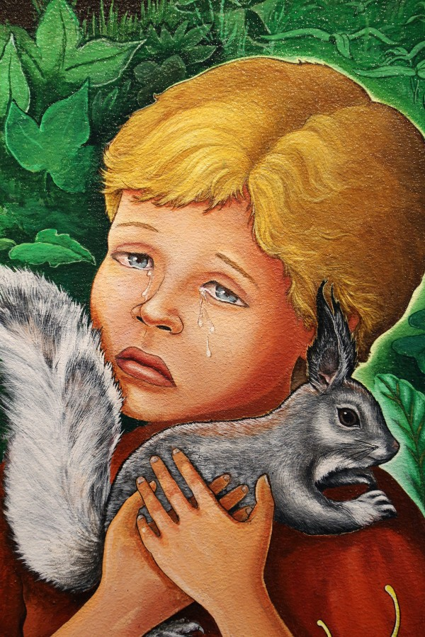 Boy and squirrel at DIA airport, Josef Bull, 2014