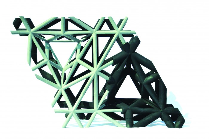 First prototype of a space frame entirely made of UHPFC (here DUCTAL® Lafarge), whose thin sections are inspired by steel construction rather than by the traditional concrete constructive models. STUDIES IN RECURSIVE LATTICES ©EZCT Architecture & Design Research, 2013