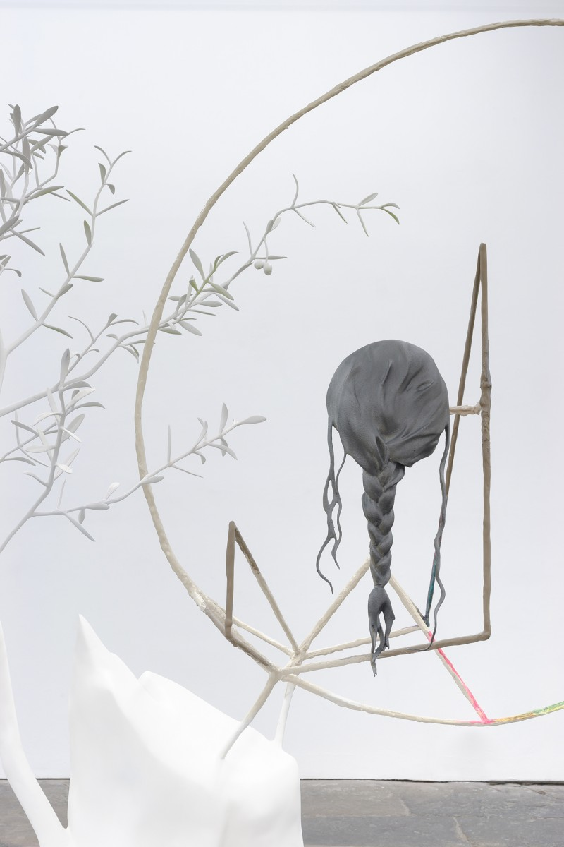 "Sister Giving Birth, detail 2013 (resin, wood, embedded hair, stainless steel, paint, 84 x 84 x 39"")"