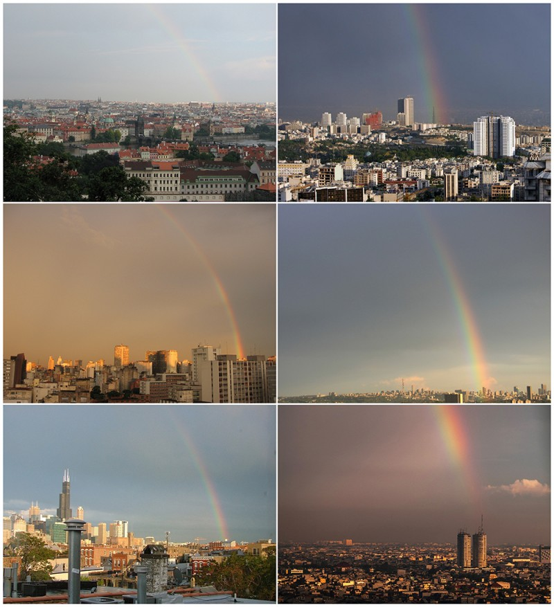 rainbows clockwise from top left:  Prague, Tehran, Johannesburg, Jakarta, Chicago, Sao Paulo