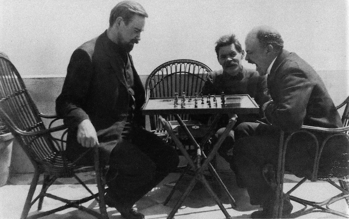 Bogdanov and Lenin play chess, 1908