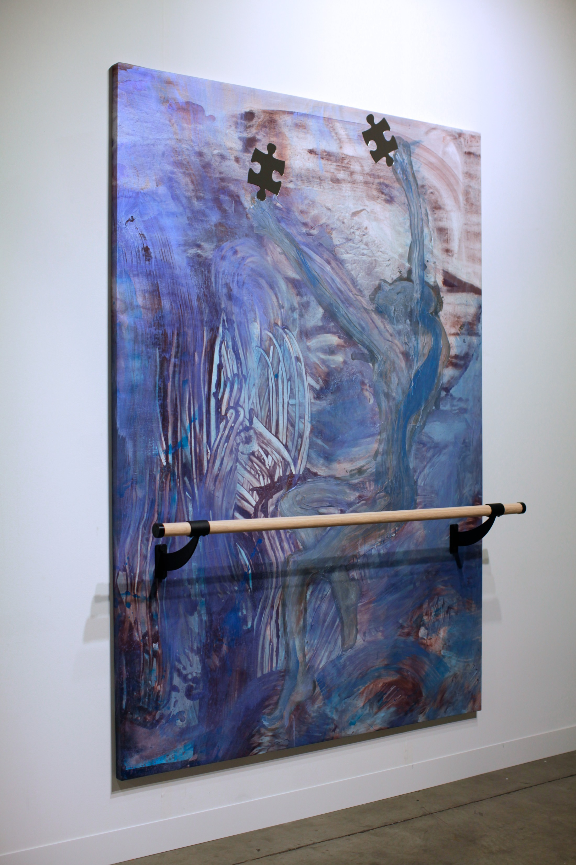Caveman Catharsis, 7x5 feet, acrylic, mirrored plexiglass, ballet barre on linen, 2014
