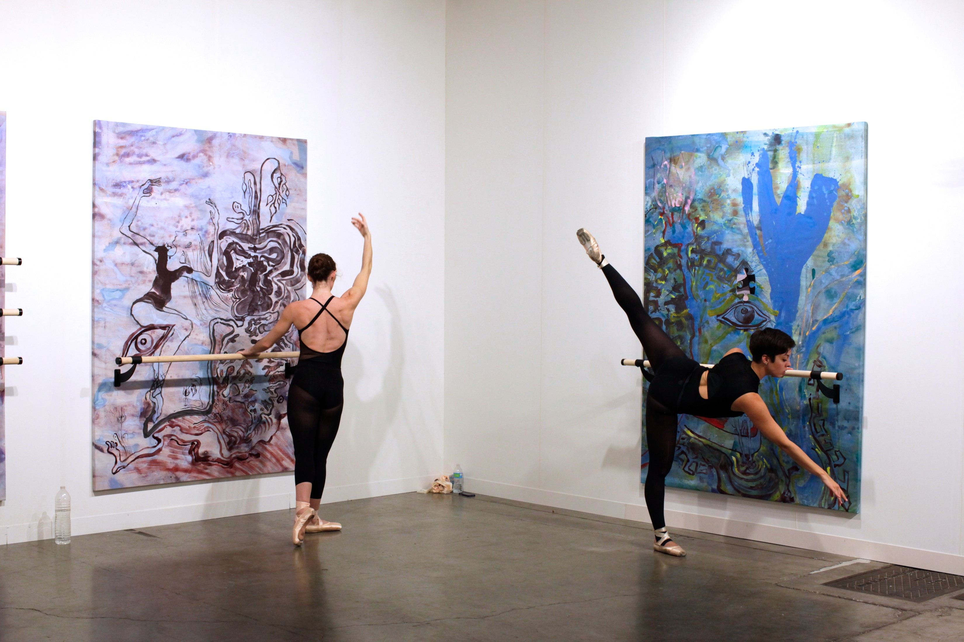 Dancarchy Refuge, 7x5 feet, acrylic, ballet barre on linen, 2014