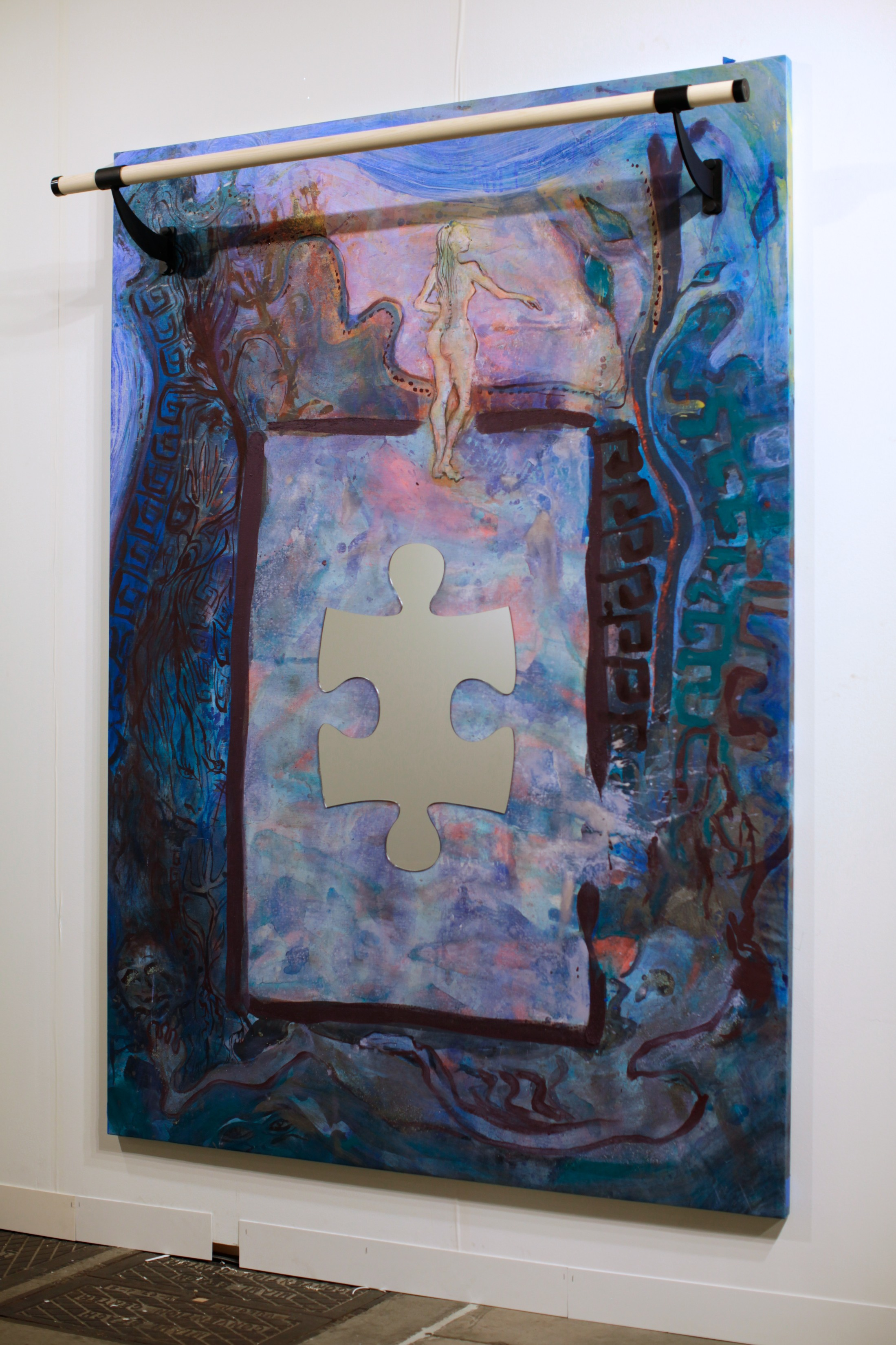 #Puzzled, 7x5 feet, acrylic, mirrored plexiglass, ballet barre on linen, 2014
