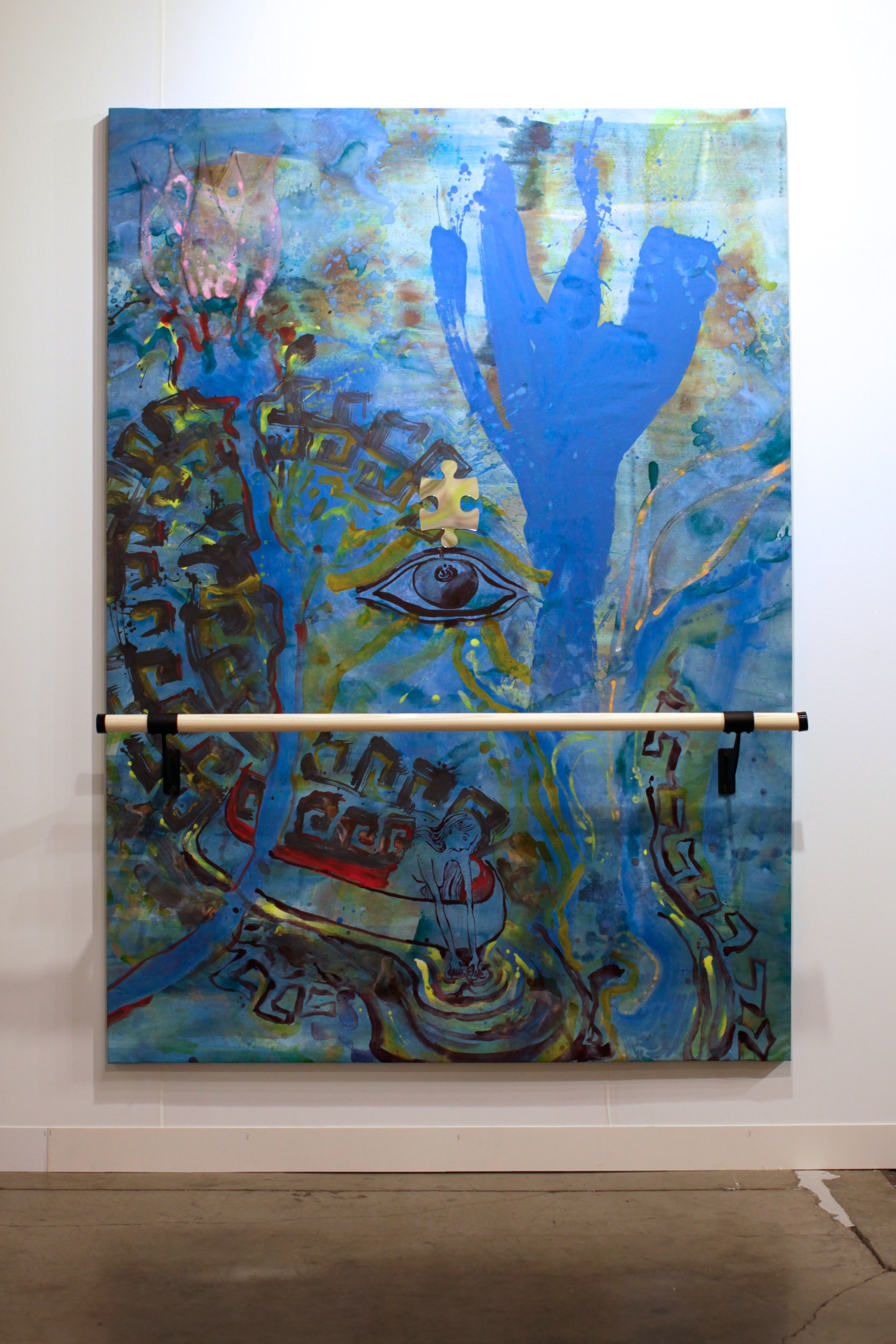 Try Listening, 7x5 feet, acrylic, mirrored plexiglass, ballet barre on linen, 2014