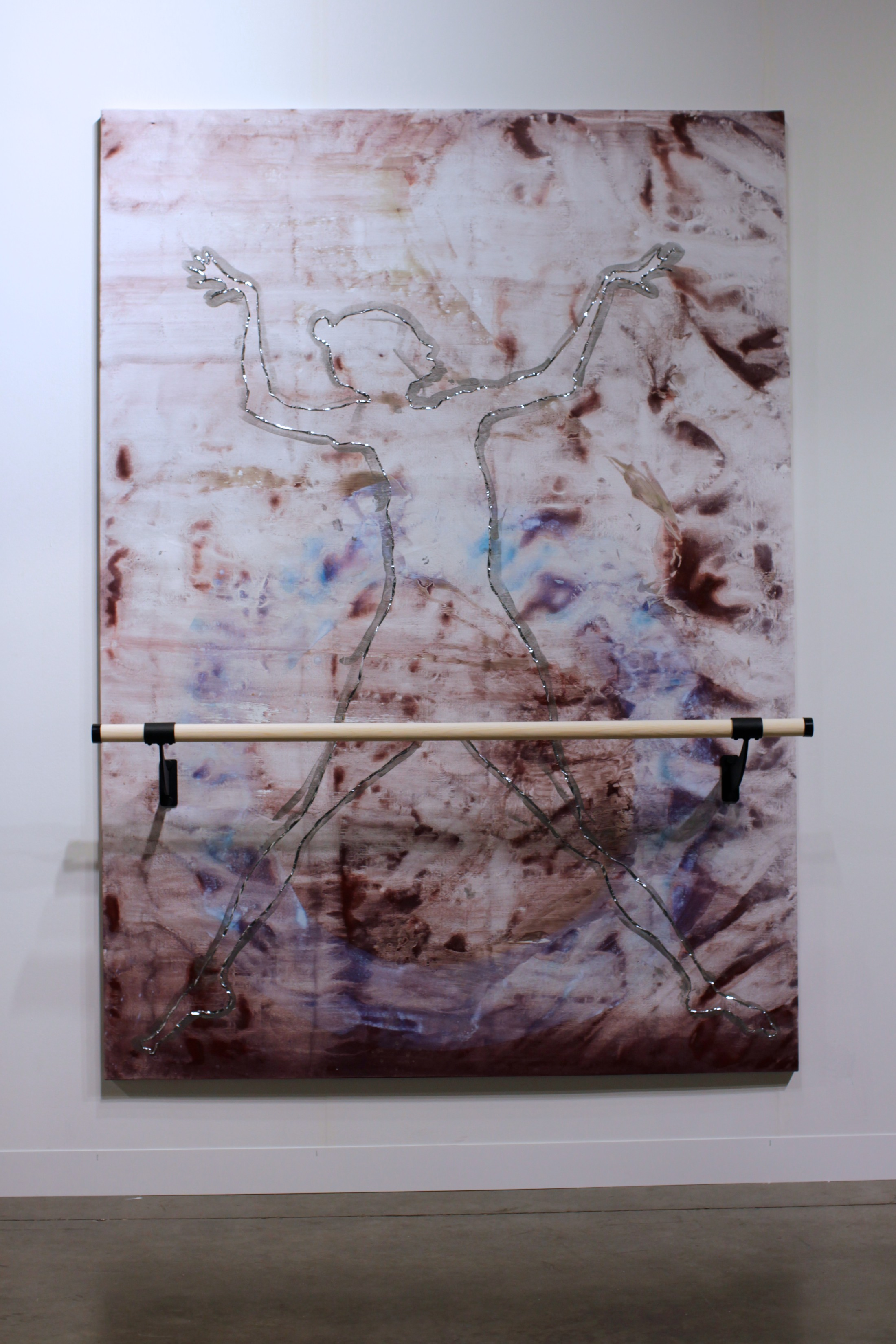 Ushering in Jupiter, 7x5 feet, acrylic, mylar tape, ballet barre on linen, 2014