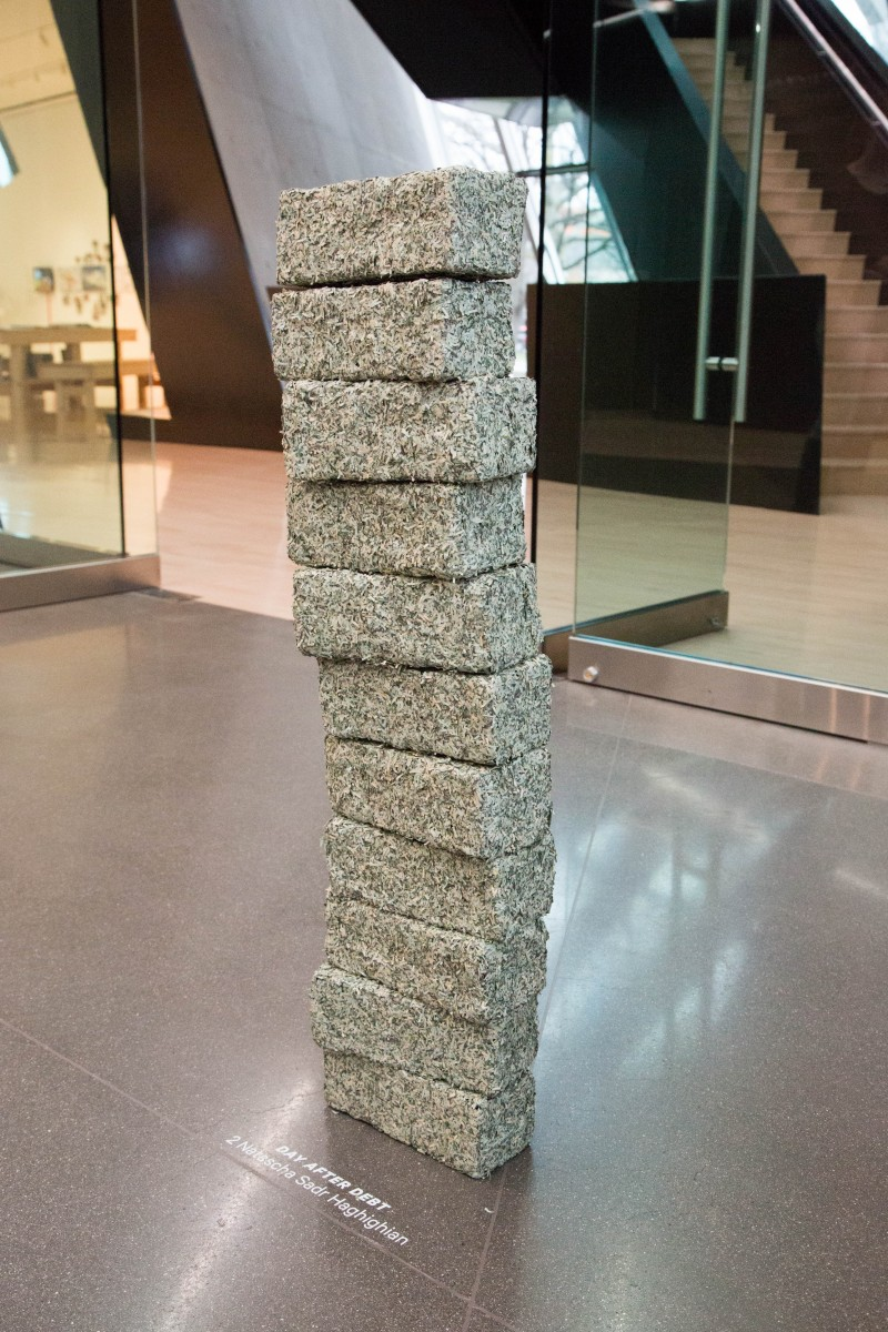 Natascha Sadr Haghighian, Donation Tower (former value $10,000), 2014. Courtesy the artist, photo courtesy Aaron Word.