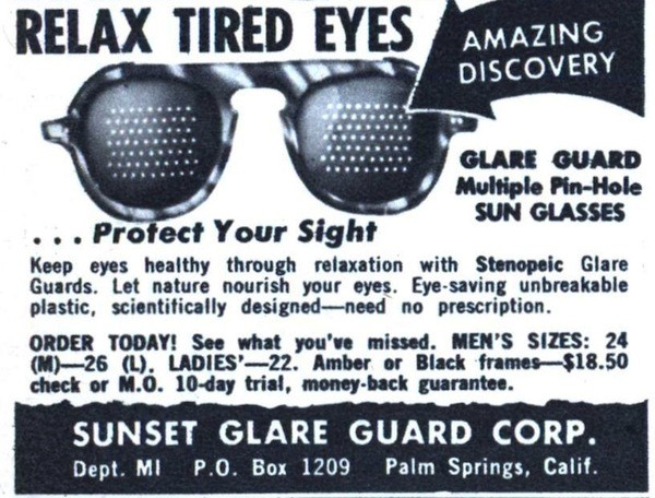 Relax Tired Eyes, Sunset Glare Guard Corp., Palm Spring, California – ad, circa 1950s