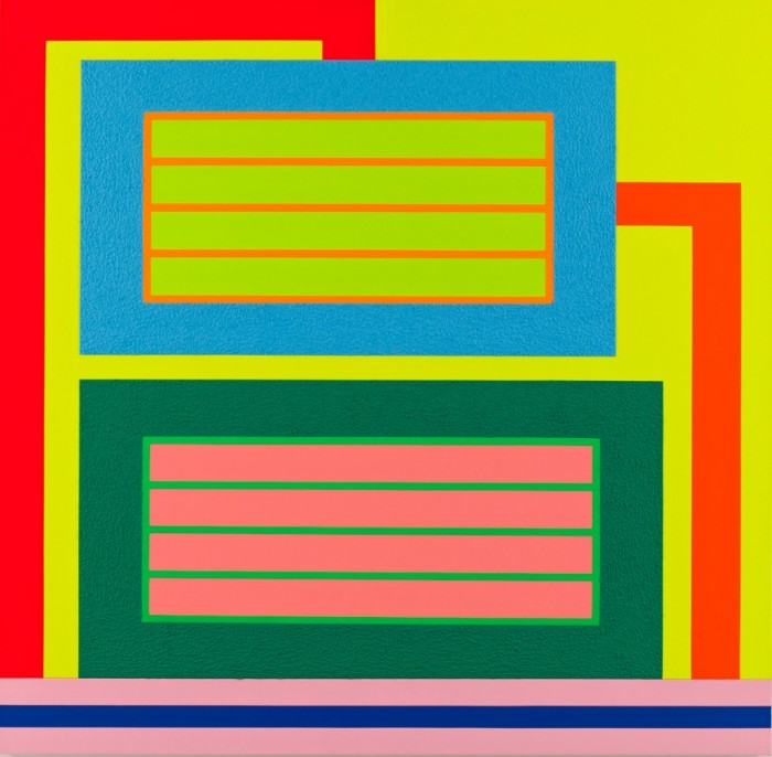 Architectural structures inform Peter Halley's paintings, as in Accretive Cognition, 2010. ©PETER HALLEY/COURTESY MARY BOONE GALLERY, NEW YORK.