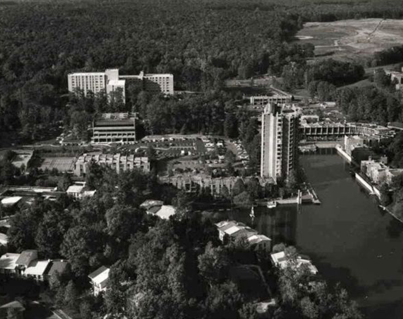"""Brookwood/Newfields New Town."" (aerial view of Lake Anne/Reston VA., photographer unknown, likely early 1960's) Urban Ohio, accessed April 25, 2015, http://www.urbanohio.com/forum2/index.php?topic=9194.0"