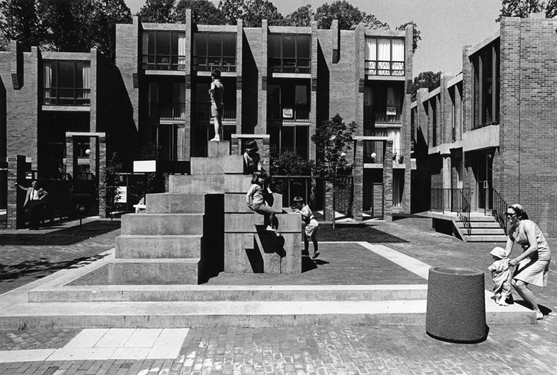 """Washington Plaza at Lake Anne Village.""(William A. Graham photographer, 1969) Encyclopedia Virginia, accessed April 11, 2015, http://www.encyclopediavirginia.org/media_player?mets_filename=evm00001076mets.xml"