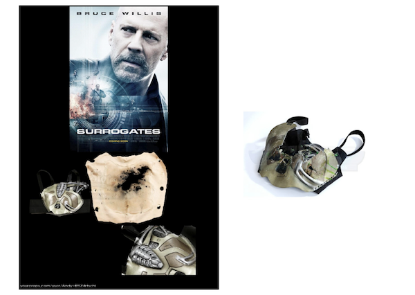 "Budor uses cyborg chest prosthetics from the movie ""Surrogates"", starring Bruce Willis"