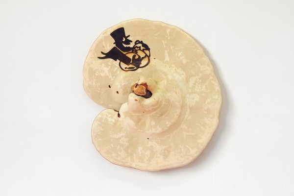Untitled (After Amici) #2, 2015. Laser-­Etched Dried Reishi Mushroom