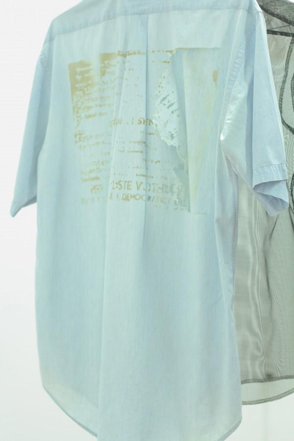 airehgnU ni edecus asoC, 2015 (Detail). Gauze Mesh Shirt, Laser Etched Denim Shirt