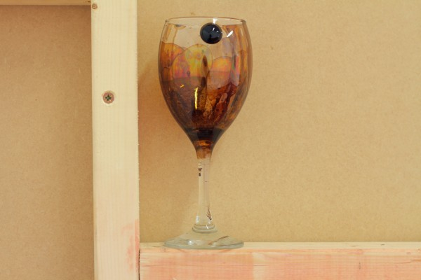 Pindul's Return, 2015 (Detail). Wine Glass, Rare Earth, Magnet, Ferrofluid
