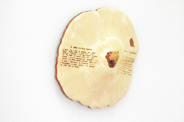 Untitled (After Amici #3), 2015. Laser­-Etched Dried Reishi Mushroom (on left) Untitled (After Rewards #1), 2015Untitled (After Rewards #3), 2015. Dried Reishi Mushroom (on top & on right)