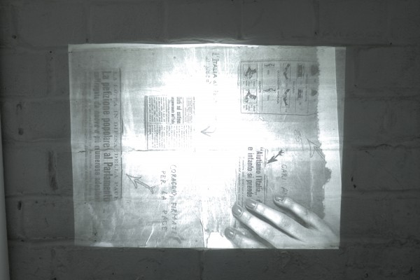 Untitled (After Arcadia), 2015. Live video feed of take away poster.