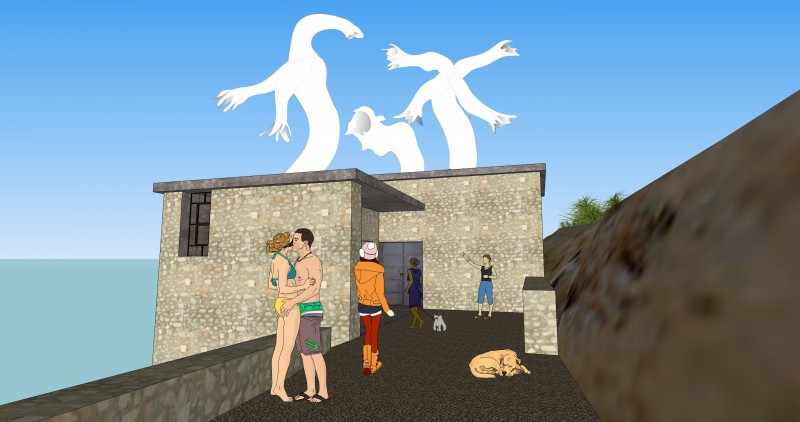 Sketchup for Hippias Minor, Hydra, Slaughterhouse, 2015. Courtesy of Paul Chan and Badlands Unlimited.
