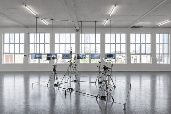 Steina (Steina Vasulka), Machine Vision, 1978, b/w video cameras, flatscreens, moving mirror assemblies, prism lenses, bird's-eye lens, zoom lens, slant mirror, tripods