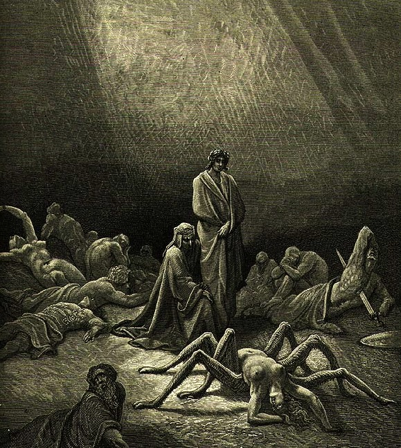 Illustration featuring Arachne for Dante's Purgatorio by Gustave Doré