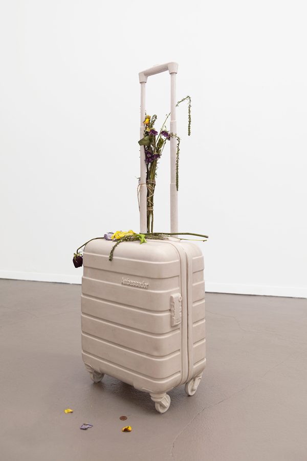 Miami-Dutch, Ghost Bag, 2015, Aqua resin, fberglass, fowers, 40.5 x 14.5 x 9 inches (102.87 x 36.83 x 22.86 cm), Unique
