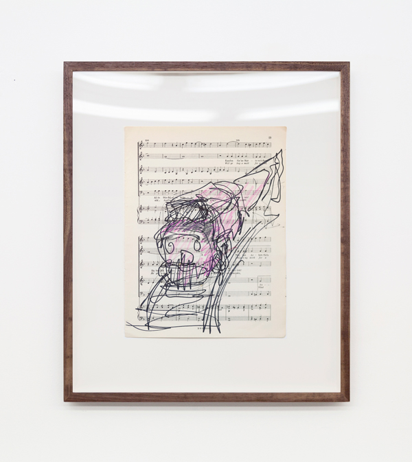 Miami-Dutch, London Street Cries (Train), 2015, ink and color pencil on sheet music, 12 x 9 inches (30.48 x 22.86 cm) 19 x 16 inches (48.26 x 40.64 cm) (framed), Unique