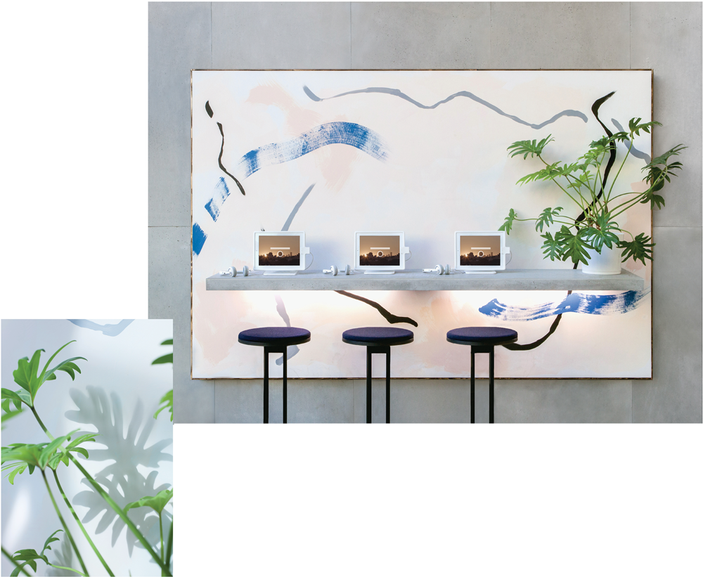 Installation views, 9th Berlin Biennale: Christopher Kulendran Thomas, From the ongoing work New Eelam, 2016 Acrylic on canvas, concrete shelf, LEDs, plant and 'New Eelam' film (HD, 14:06) Images: Laura Fiorio / Joseph Kadow