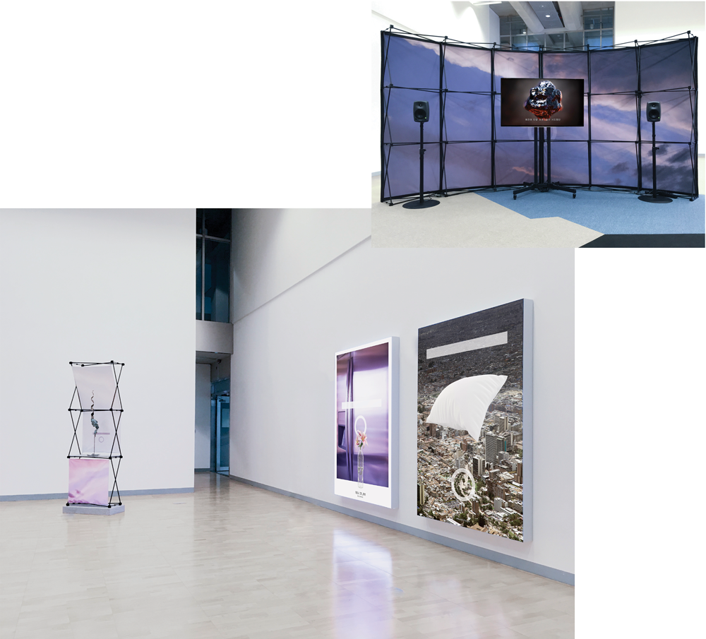 Installation views, 11th Gwangju Biennale Christopher Kulendran Thomas New Eelam, 2016 featuring original artworks by Asela Gunasekara and Sanjaya Geekiyanage Design: Manuel Bürger & Jan-Peter Gieseking, Photography: Joseph Kadow, Creative Director: Annika Kuhlmann