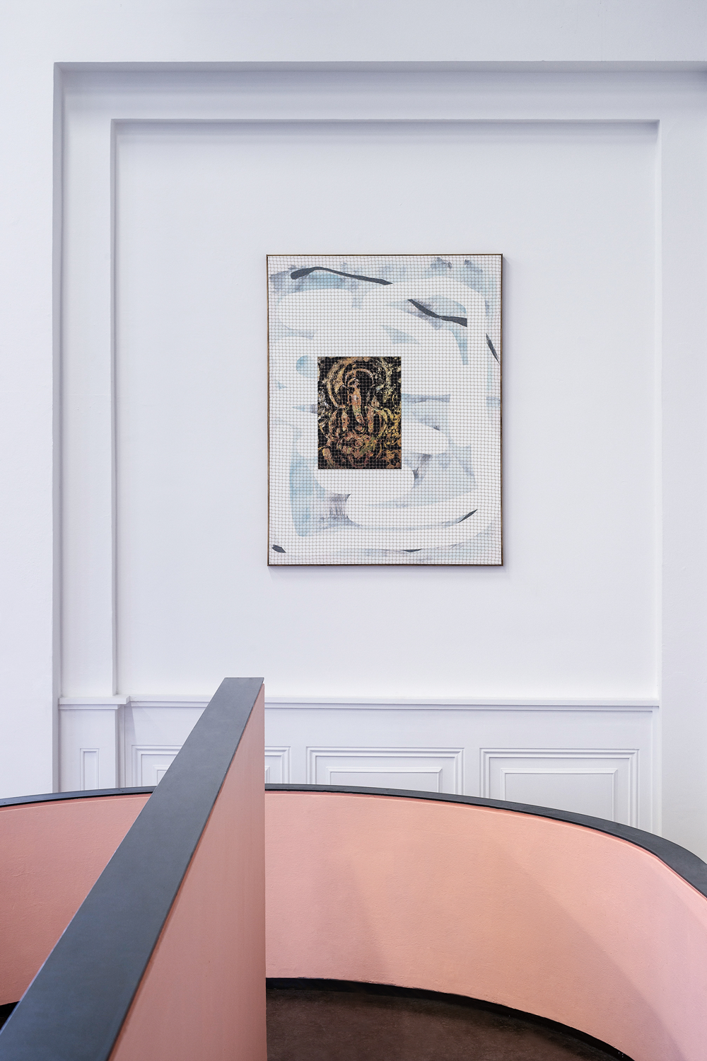 Installation view, '60 million Americans can't be wrong' at Kunstverein Harburger Bahnhof: Christopher Kulendran Thomas From the ongoing work When Platitudes Become Form, 2016 Acrylic on canvas, wooden frame, netting and 'Lord Ganesh' (2011) by Dennis Muthuthanthri Image: Michael Pfisterer